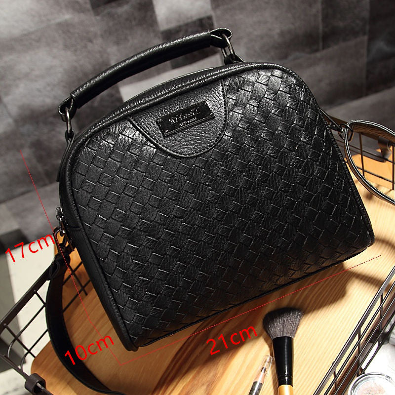 Knitting PU Leather Women Handbag