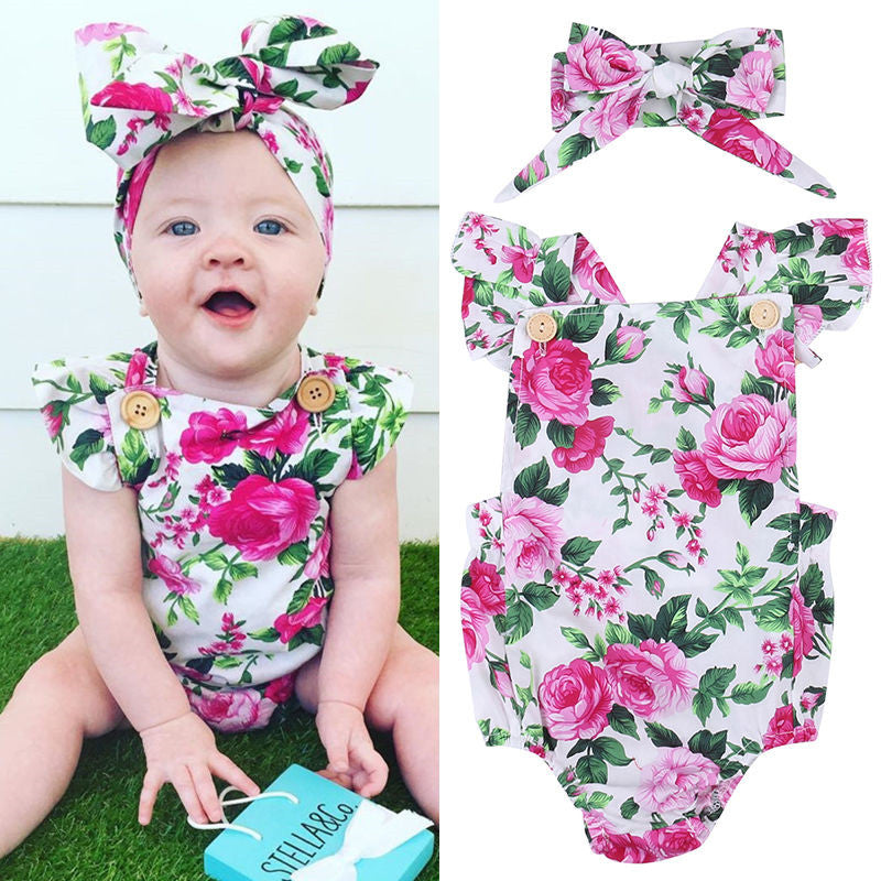 Square Collar Sleeveless Floral Printed Baby Girls Bodysuit With Bowknot Headband