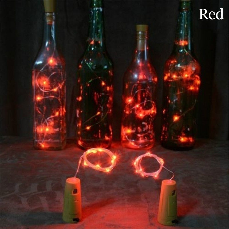 10 LEDs Solar Powered Cork Shaped LED Wire String Lights