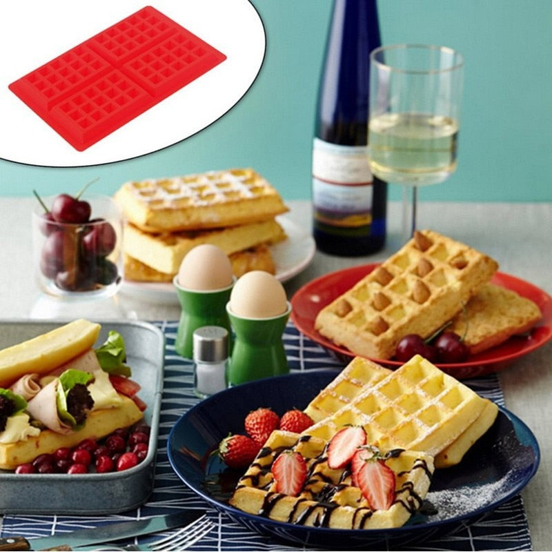 4-Cavity Heart & Square Silicone Baking Pan Waffles Cake Mould