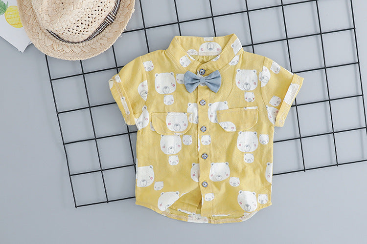 Cartoon Bear Pattern Cotton Summer Baby Boy Shirt & Shorts Bib Pant