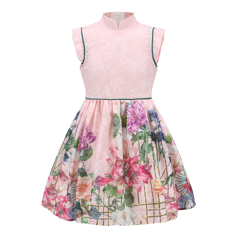 4-14 Years A-Line Flower Print Chinese Style Girls Party Dress
