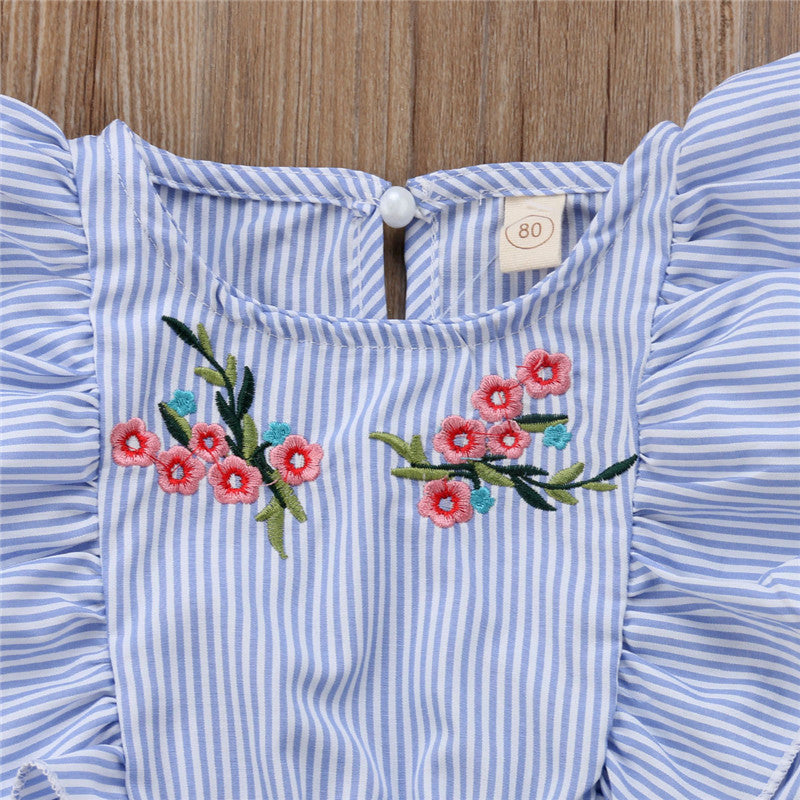Embroidery Flower Striped Ruffle Blue Lace-up Summer Jumpsuit