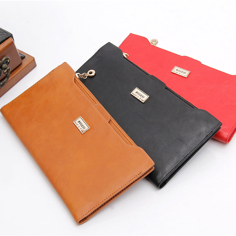 Brand Long Thin With Zipper Coin Wallet