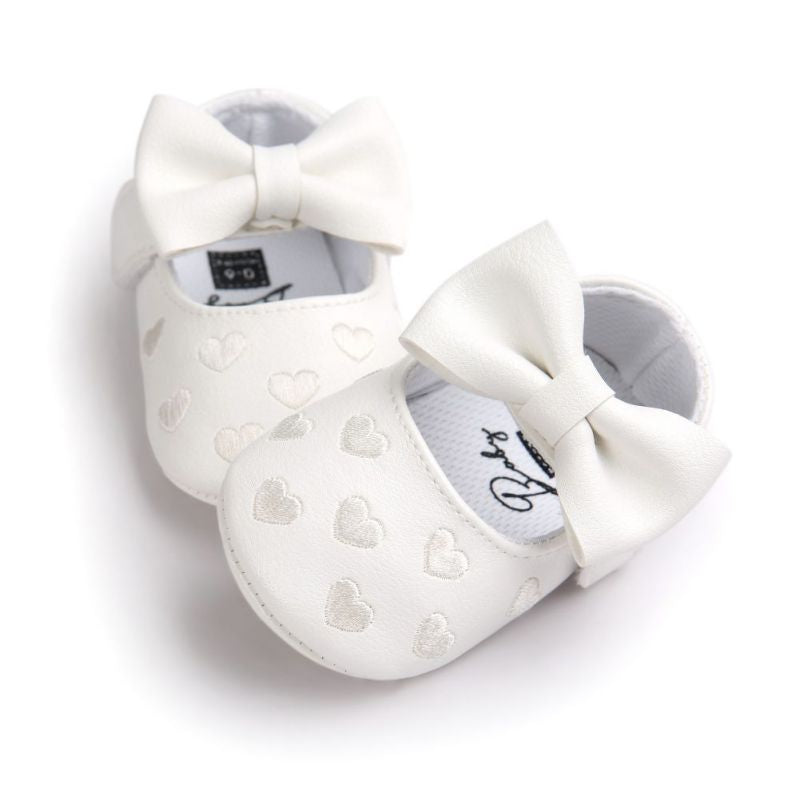 Soft Soled Non-Slip Butterfly-Knot PU Leather Baby First Walkers
