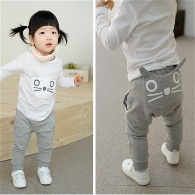 Cute Cartoon Pattern Cotton Unisex Trousers
