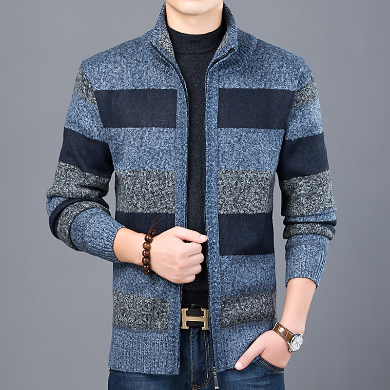 Korean Style Warm Knitted Slim Fit Cardigan For Men's