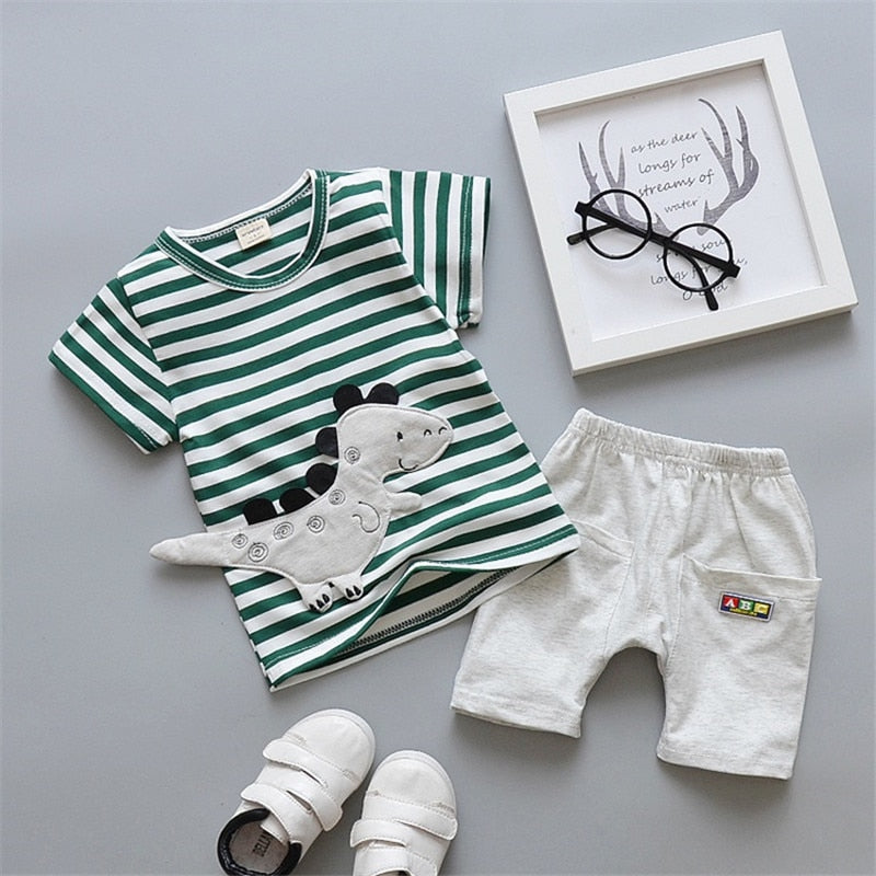 Cartoon Printed Cotton Baby Boys Summer Tracksuit Set
