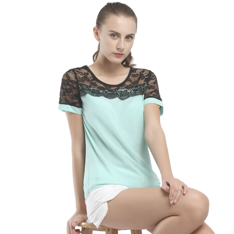 Casual Short Sleeve Solid Lace Chiffon Loose OL Women Blouse
