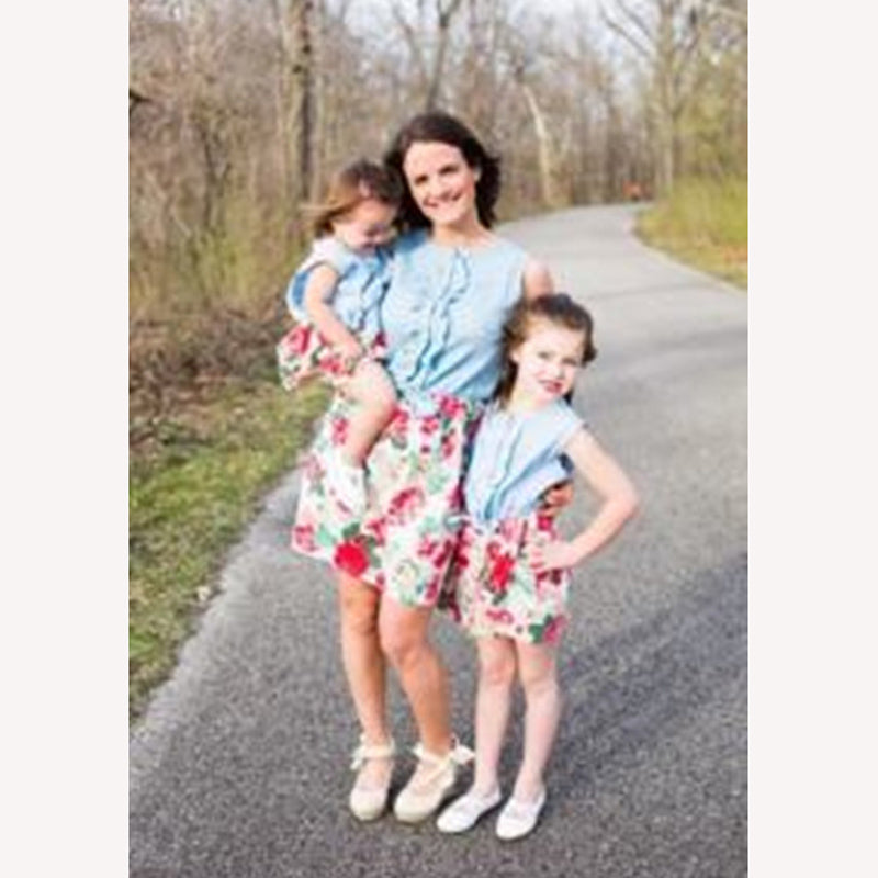 Sleeveless Floral Printed Mom & Me Matching Summer Dress
