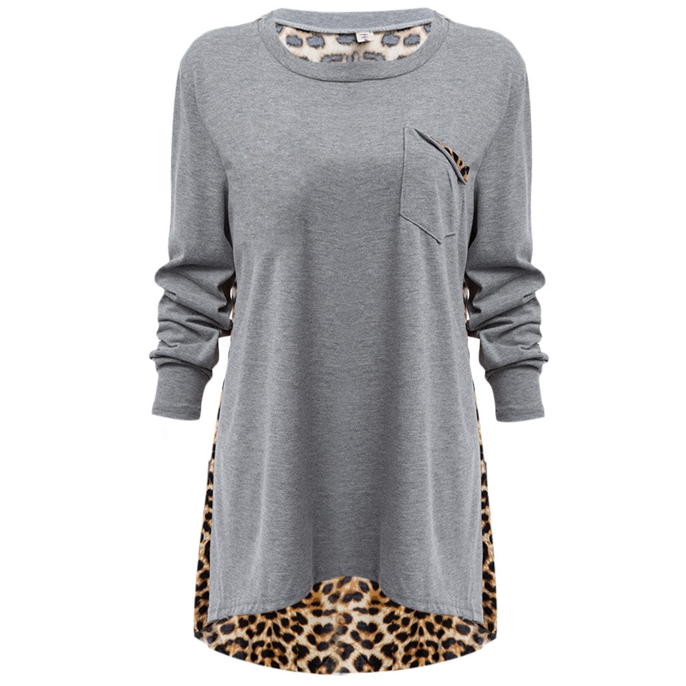 Casual Loose Plus Size Top O-Neck Leopard Blouse