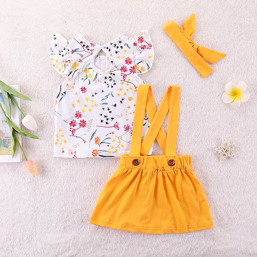 Cute Pure Color Strap Skirt & Floral Print Top & Hair For Girls