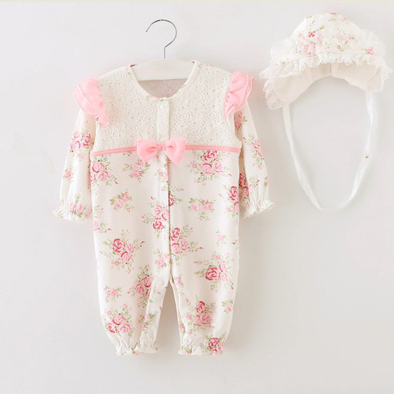 Princess Style Baby Girl Floral Lace Rompers & Hats