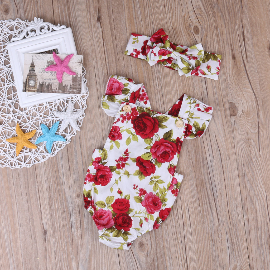 Cool Floral Printed Cotton Baby Girls Jumpsuit Romper With Headband