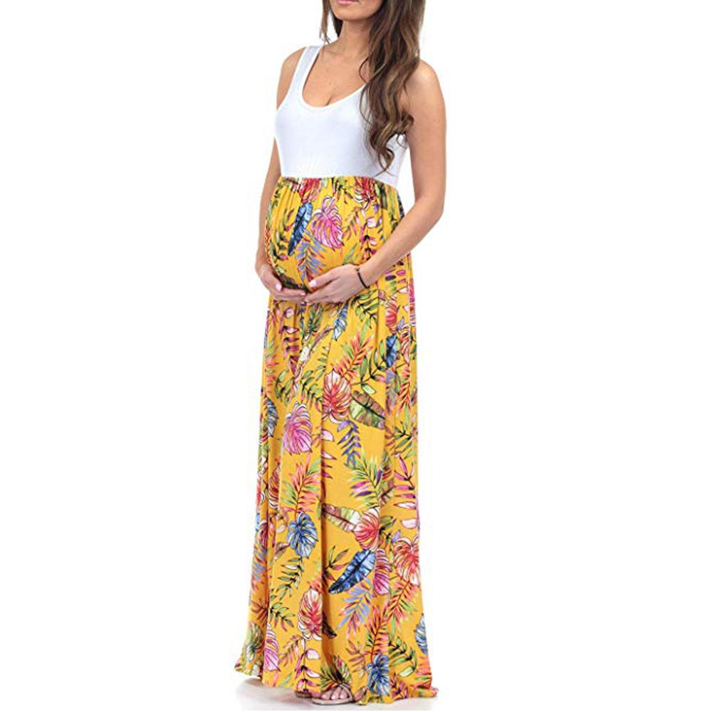 A-Line Sleeveless Ruched Color Block Maxi Pregnancy Splicing Dress