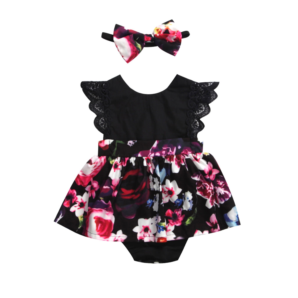 A-Line Sleeveless Floral Printed Tutu Dress Romper With Headband For Girls