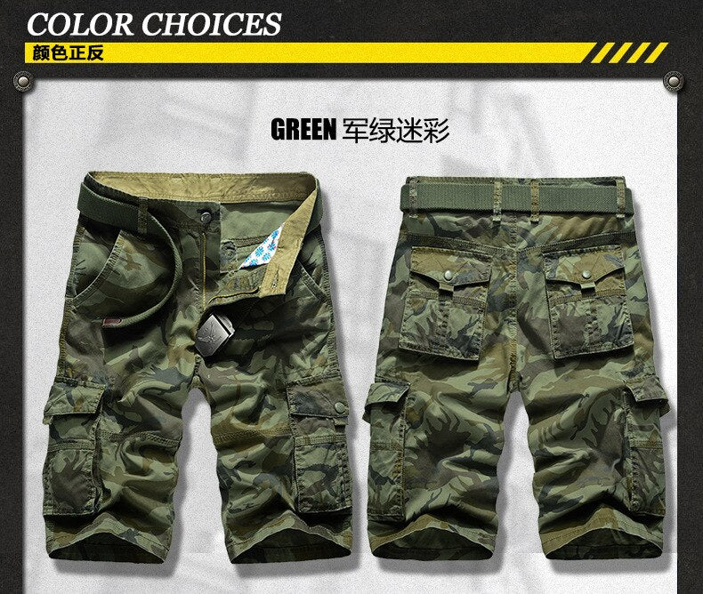 Camouflage Cotton Loose Knee Length Cargo Men Shorts
