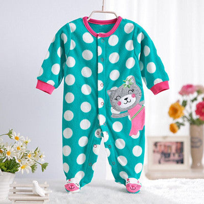 Polar Fleece Long Sleeve Coveralls For Newborns