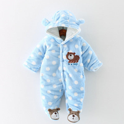 Thick Warm Baby Clothing Long Sleeve Hooded Romper