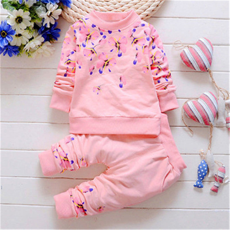 Floral Pattern Long Sleeve Girls Kid Set