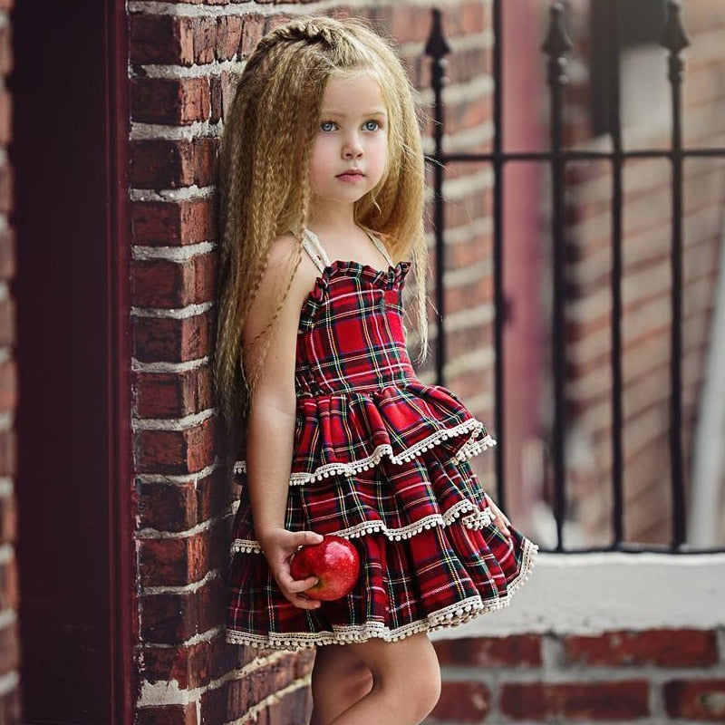 European & American Style Plaid Puff Sleeve Baby Girls Princess Dress