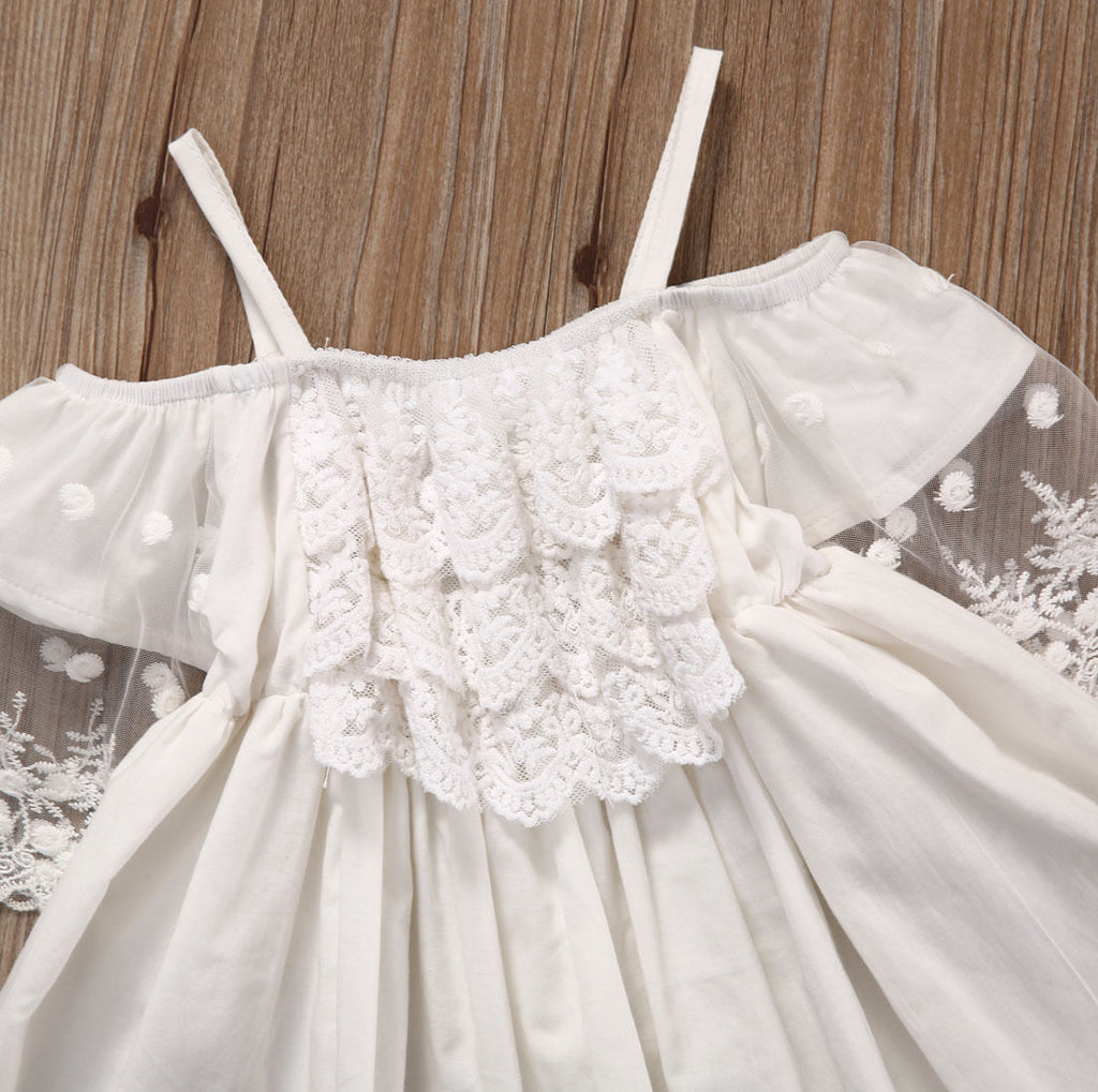 Cute Solid Lace Mini White Kids Party Dress