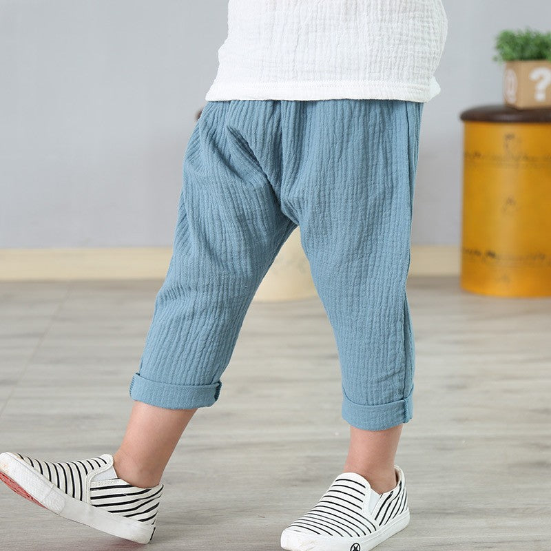 2-7Yrs Elastic Waist Linen Pleated Ankle-Length Pant For Boys