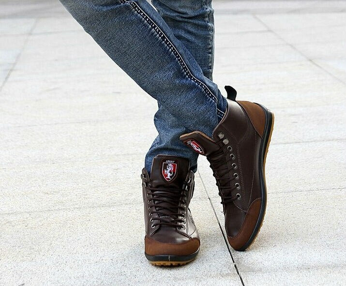 Warm Lace-Up Leather Ankle Boots For Men