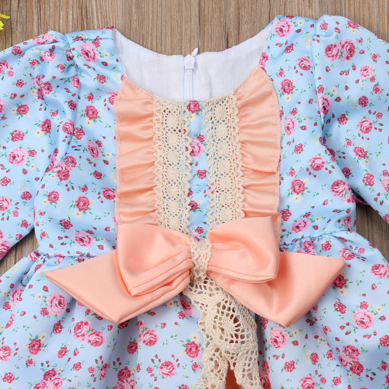 1-6Yrs Floral Lace Bowknot Ruffles Princess Wedding Girls Dress