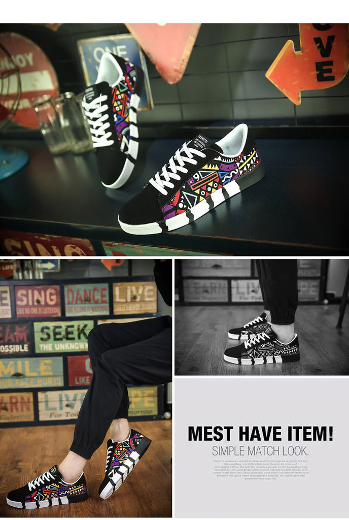 Breathable Graffiti Lightweight Lace Up Sneakers For Men