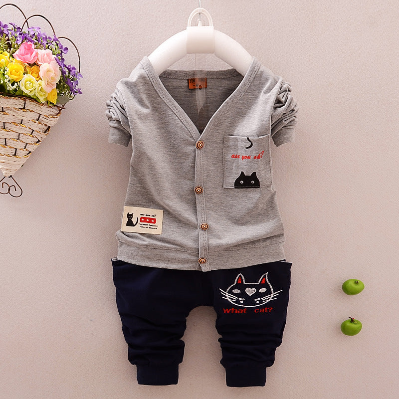 Cotton Boy Clothing Set Long Sleeve Clothes + Pants