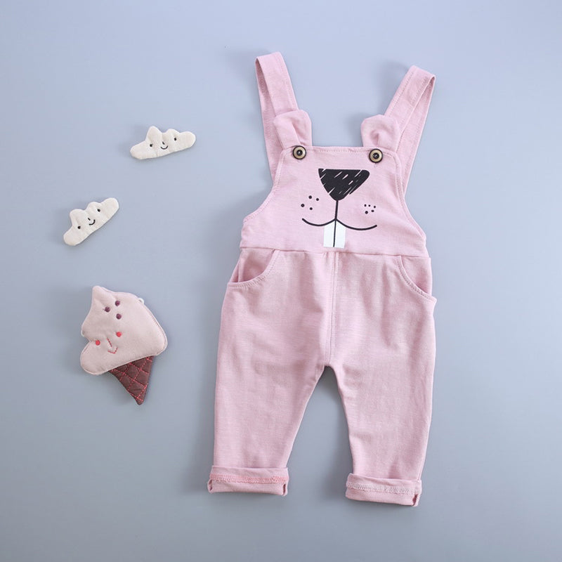 New Cartoon Kid Overalls Cotton Cat Pattern Jumpsuit Pants For Baby, Girls & Boys