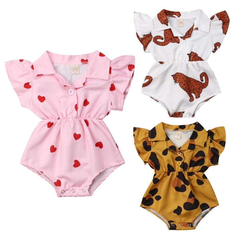 0-12M Cotton Flower Printed Button-Down Lapel Baby Girl Romper