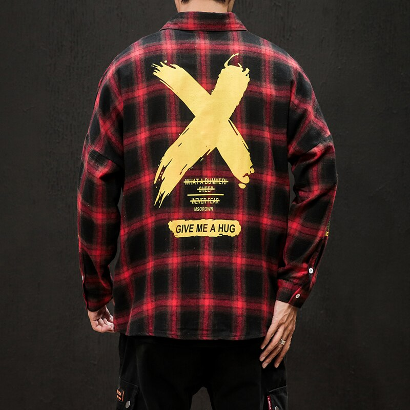 Classic Slim Fit Long Sleeve Plaid X Men's Shirt