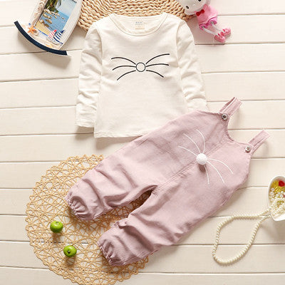 Kid Girl Set Short T-shirts+Pants 2PCs Cat Design