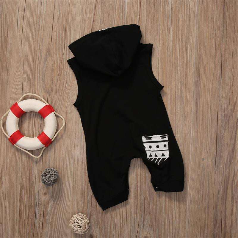 Cool 0-3Yrs Sleeveless Hooded Cotton Baby Boy Romper