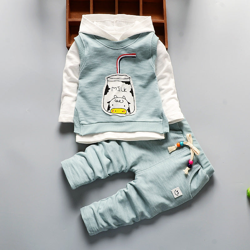Waistcoats+Long Shirt+Pant 3Pcs Sweatshirt Boy & Girl Casual Clothes