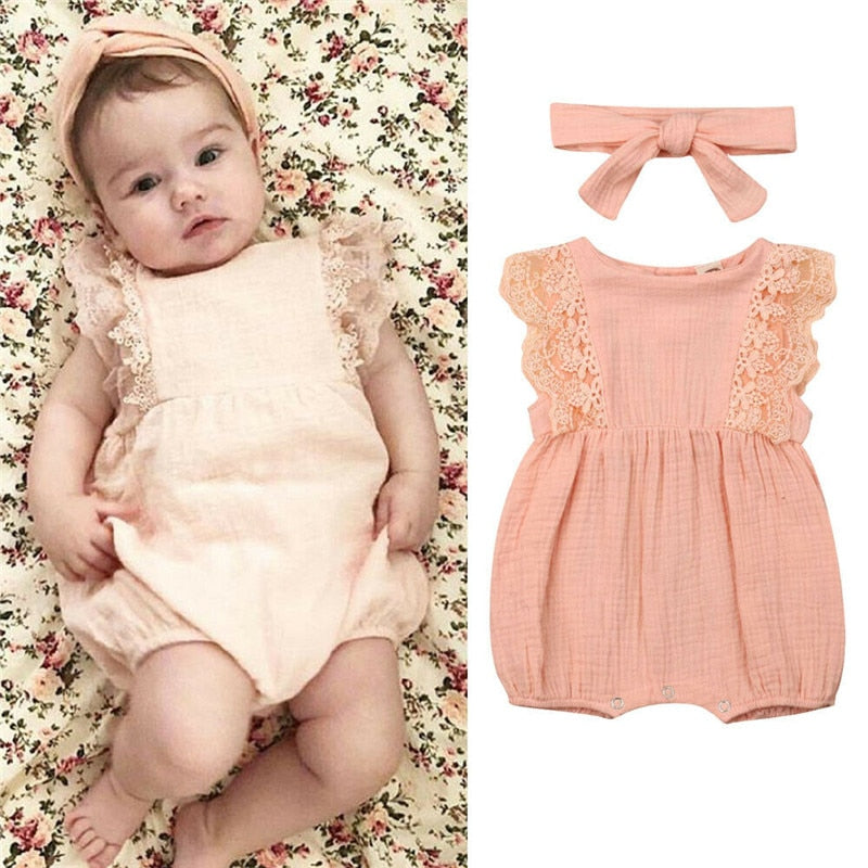 0-24M Pretty Ruffle Sleeve Solid Lace Bow Baby Girl Romper With Headband