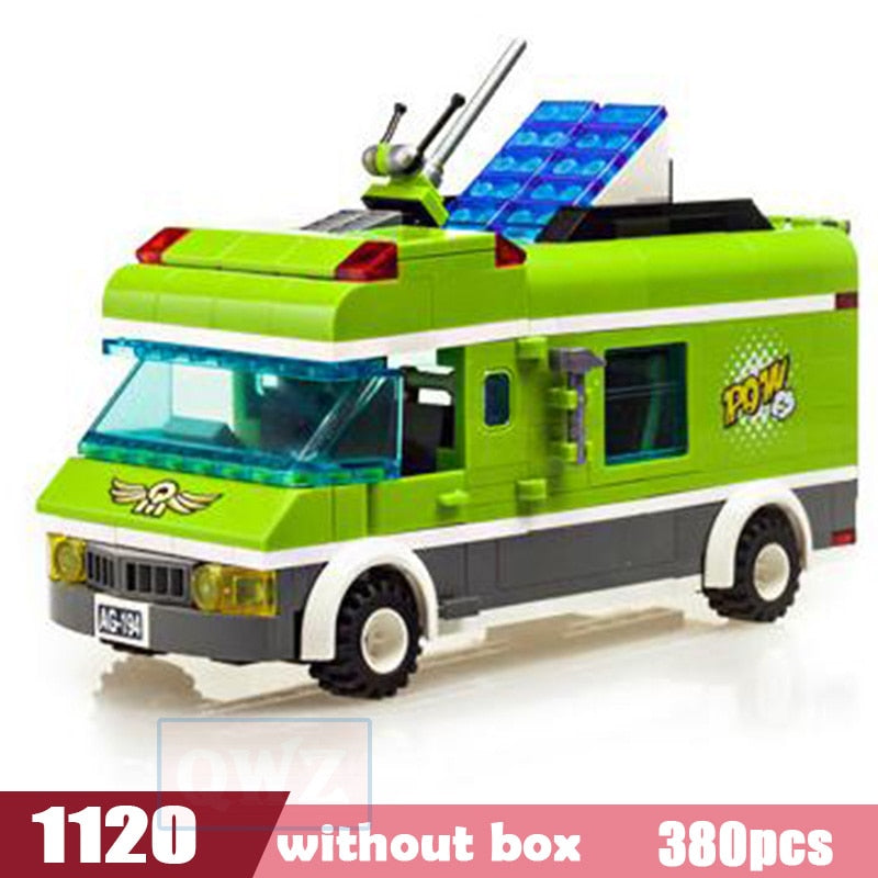 Funny City Legoes Wrecker Police Sanitation Ice Cream Car Truck Building Blocks