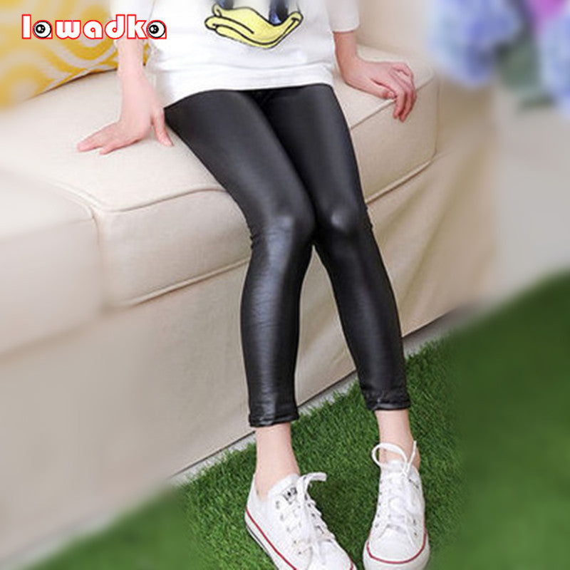 Faux Leather Girls Elastic Waist Pants