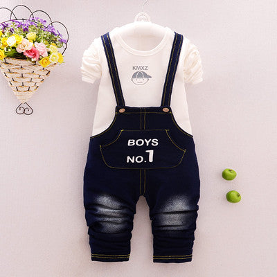 Cotton Cartoon Long shirt + Overalls