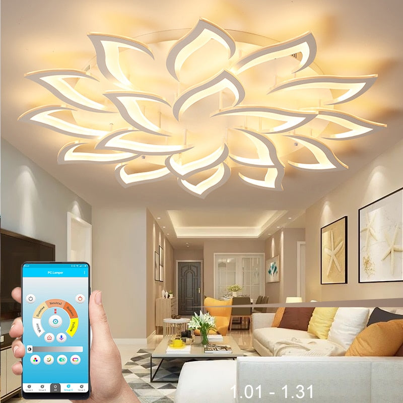 Modern Smart LED Lotus Chandelier With Remote Controller For Living Room