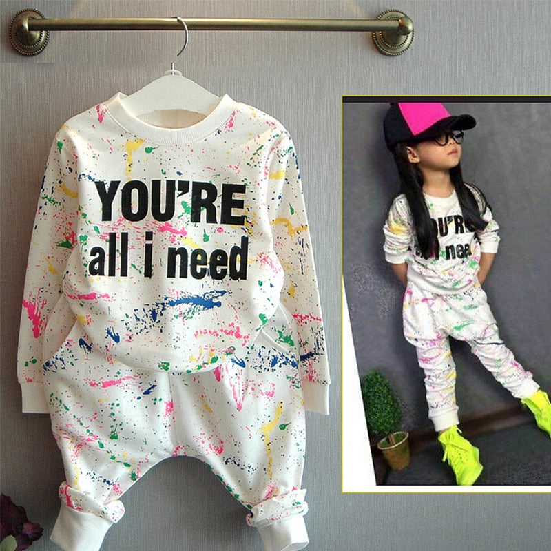 2-7Yrs Colorful Letter Printed Cotton Girls Sport Tracksuit