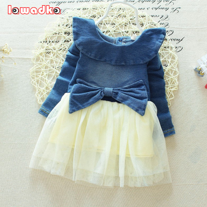 Baby Denim Dress Fashion Full Sleeve Cotton and Mesh Style
