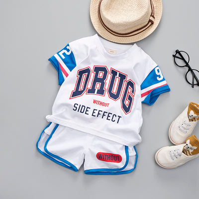 Casual Letter Printed Boys 2Pcs Sports Uniforms Suit