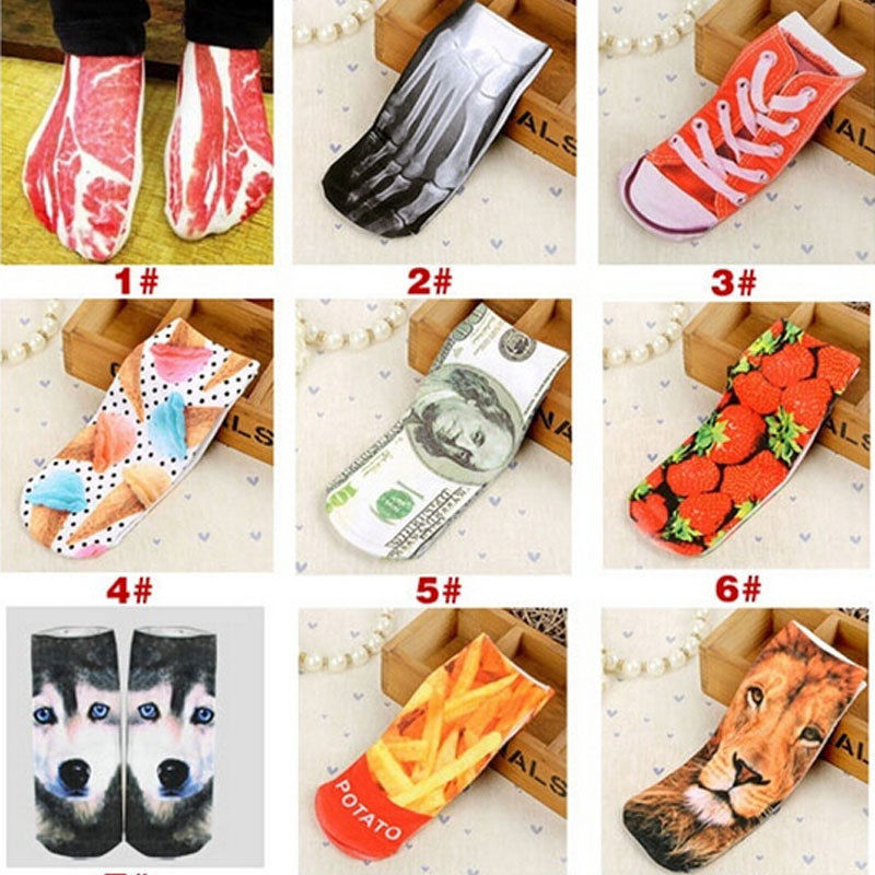 Funny Unisex Vintage Retro 3D Unique Painting Animal Cotton Socks
