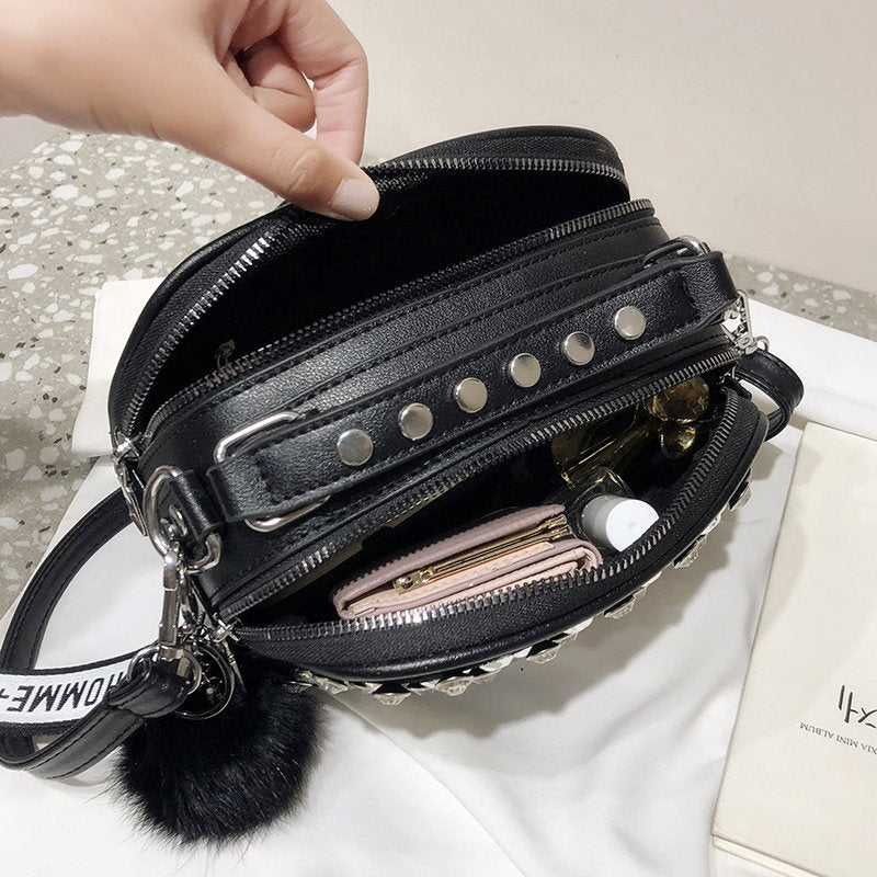 Luxury Embroidery Rhinestone Leather Ladies Shoulder Clutch Bag