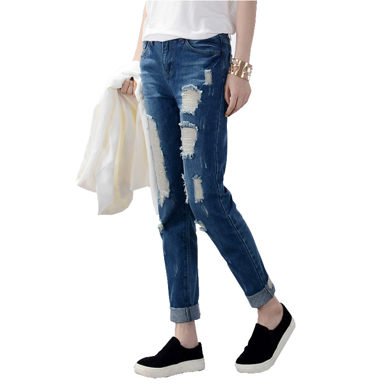 Loose Hole Denim Women Pants Jeans