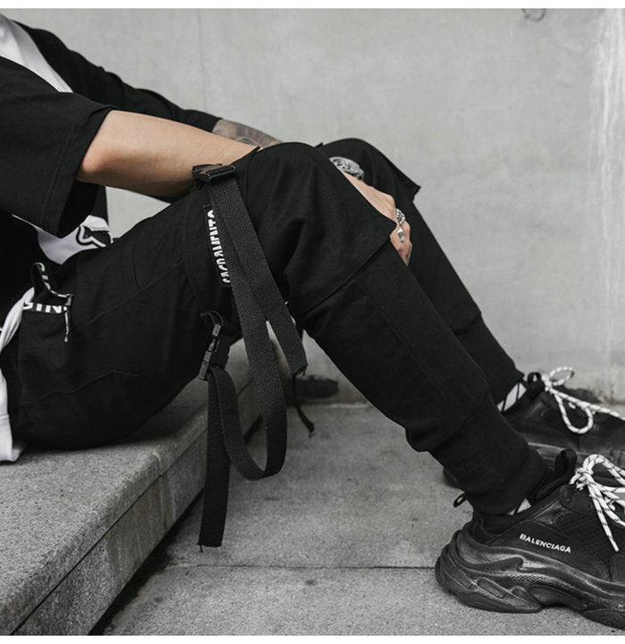 Elastic Waist Multi-pocket Ribbons Hip Hop Men's Harem Pant