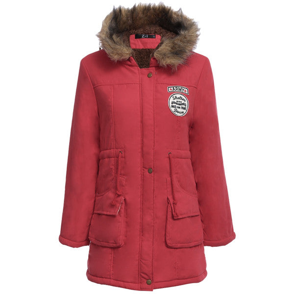 Big Size Fur Hooded Inside Down Snow Coat
